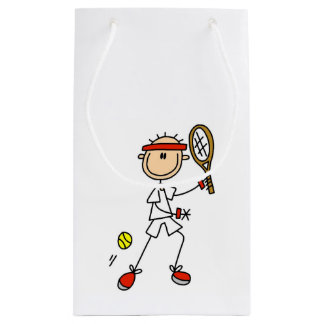 Male Stick Figure Tennis Player Small Gift Bag