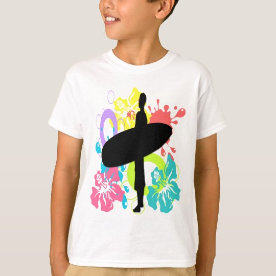 Male Surfer, Colourful Hibiscus Kid's T-Shirt