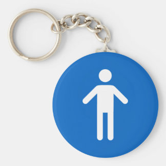 Male symbol, classic blue and white keychain