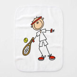 Male Tennis Player Baby Burp Cloth