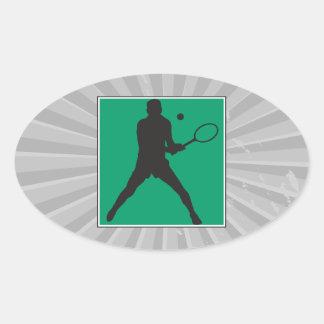 male tennis player silhouette design oval sticker