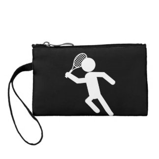 Male Tennis Player - Tennis Symbol (on Black) Coin Wallets