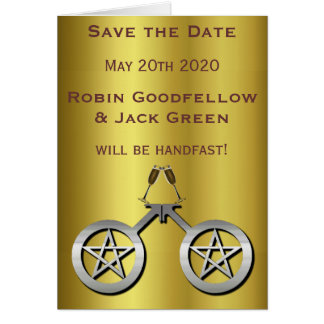 Male Wiccan Handfasting Gay Save the Date Notecard Note Card