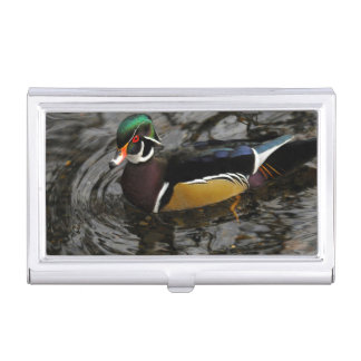 Male Wood Duck At Crystal Springs Rhododendron Business Card Holder