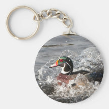 Male Wood Duck Making a Splash Basic Round Button Key Ring