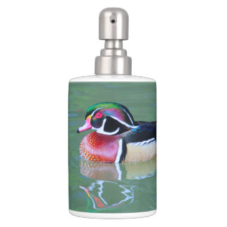 Male Wood Duck on pond Soap Dispenser And Toothbrush Holder