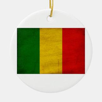 Mali Flag Round Ceramic Decoration