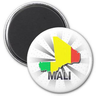 Mali Flag Map 2.0 6 Cm Round Magnet