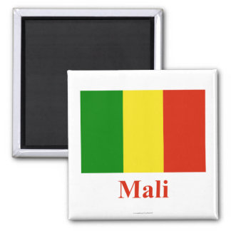 Mali Flag with Name Square Magnet