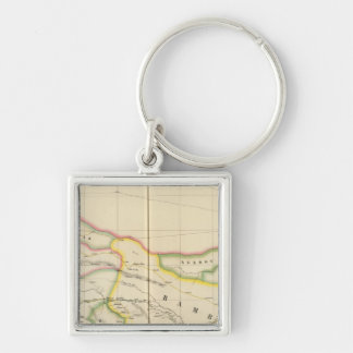 Mali Mauritania and Burkina, Africa Silver-Colored Square Key Ring