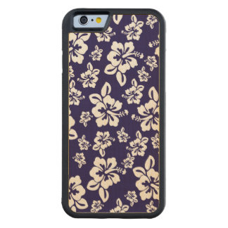 Malia Hibiscus - Blue Hawaiian Pareau Print Carved Maple iPhone 6 Bumper Case