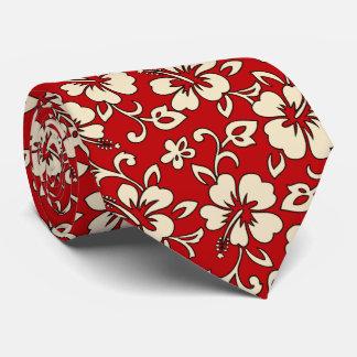 Malia Hibiscus Hawaiian Pareau Print Tie