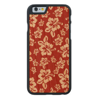 Malia Hibiscus  -  Red Hawaiian Pareau Print Carved Cherry iPhone 6 Case