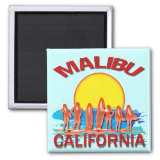 MALIBU BEACH CALIFORNIA SQUARE MAGNET