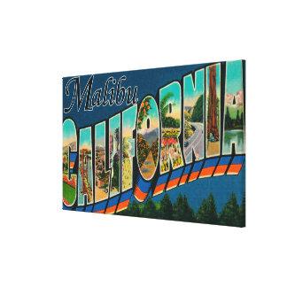 Malibu, California - Large Letter Scenes Stretched Canvas Prints