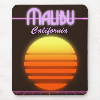 Malibu California sunset travel poster Mouse Mat