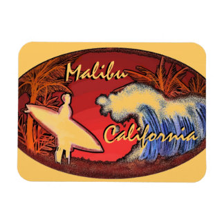 Malibu California surfer wave art rectangle magnet