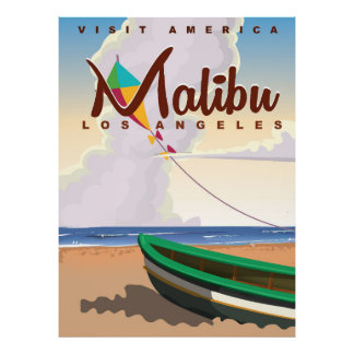 Malibu California Vintage Travel Poster