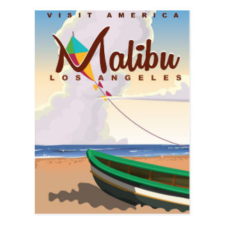 Malibu California Vintage Travel Poster Postcard
