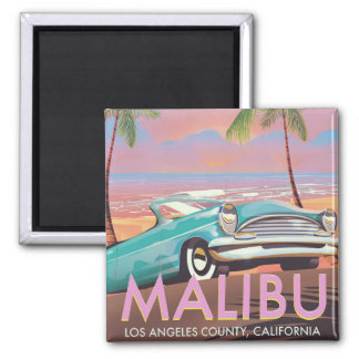 Malibu, Los Angeles, California travel poster Magnet