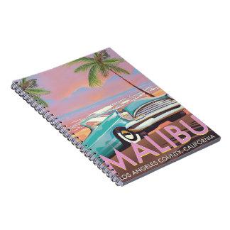 Malibu, Los Angeles, California travel poster Notebook