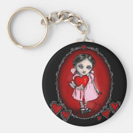 Malicious Valentine Girl Basic Round Button Key Ring