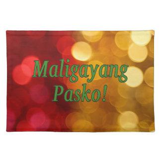 Maligayang Pasko! Merry Christmas in Tagalog gf Cloth Placemat