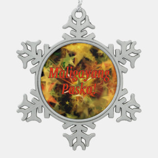 Maligayang Pasko! Merry Christmas in Tagalog rf Snowflake Pewter Christmas Ornament