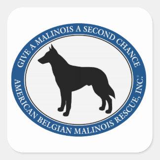 Malinois Rescue Logo, Square Sticker