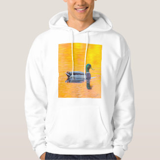 Mallard duck on orange lake, Canada Hoodie