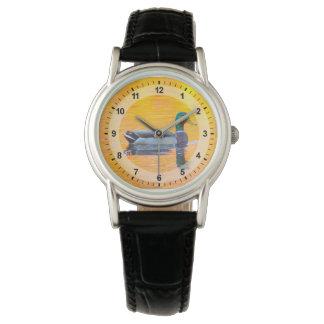Mallard duck on orange lake, Canada Wrist Watches