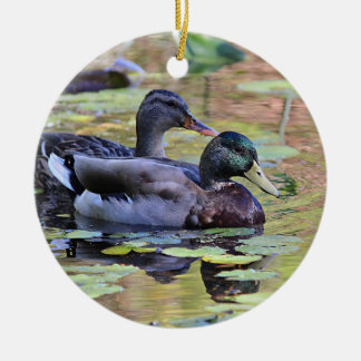 Mallard duck pair round ceramic decoration