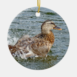 Mallard Duck Playing In The Water Christmas Ornament