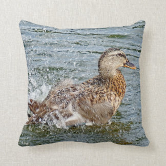 Mallard Duck Playing In The Water Cushion