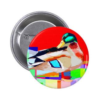 Mallard Duck Pop Art Portrait Painting 6 Cm Round Badge