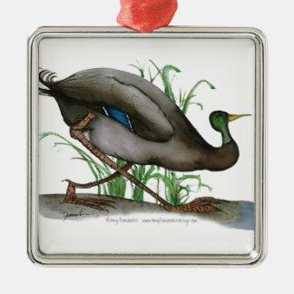 mallard duck - wild bird, tony fernandes Silver-Colored square decoration