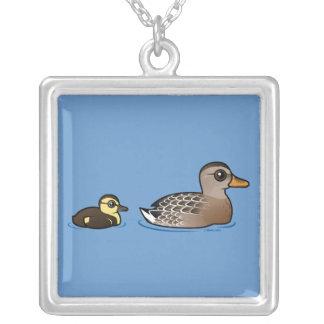 Mallard & duckling silver plated necklace
