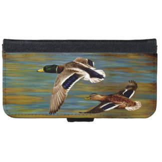 Mallard Ducks Flying Over Pond iPhone 6 Wallet Case