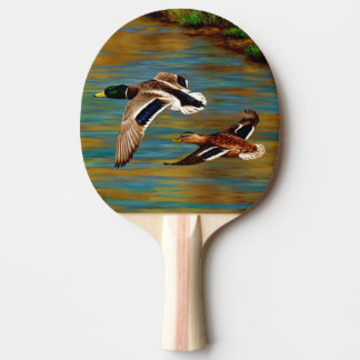 Mallard Ducks Flying Over Pond Ping Pong Paddle