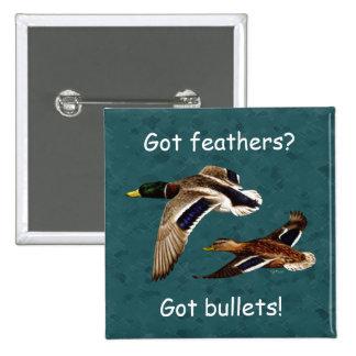 Mallard Ducks in Flight Teal 15 Cm Square Badge