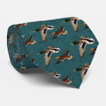 Mallard Ducks in Flight Teal Tie