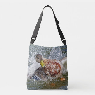 Mallard Hen Duck Splish Splash Taking A Bath Crossbody Bag