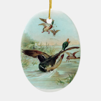 Mallard Making a Water Landing Christmas Ornament