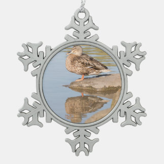Mallard Snowflake Pewter Christmas Ornament