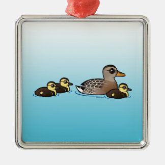 Mallard & three ducklings christmas ornament