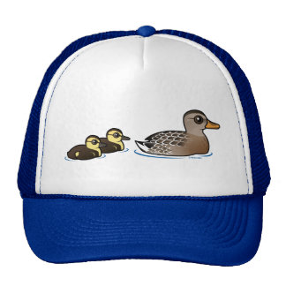 Mallard & two ducklings trucker hats