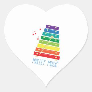 Mallet Music Heart Sticker