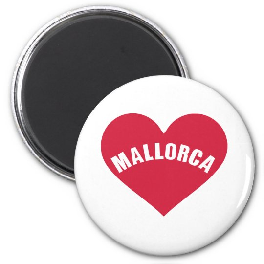 Mallorca red heart 6 cm round magnet