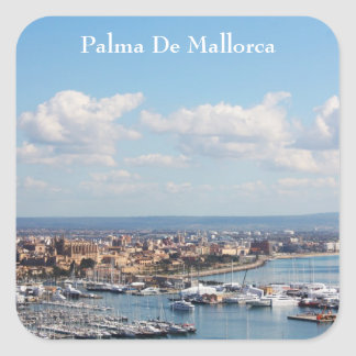 Mallorca seascape square sticker