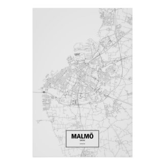 Malmö, Sweden (black on white) Poster